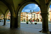 Arcades of the main square, Amer, La Garrotxa, Catalonia, Spain