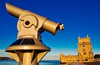 Tourist Telescope, Belem Tower, Tower of Saint Vincent, Fortification, Torre de Belém, Tagus River mouth, Rio Tejo, Santa Maria de Belém district, Lis...