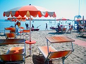 Igea Marina , Rimini, Emilia Romagna, Italy. A panoramic view of the beach on a summer afternoon.