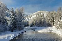 Methow River on a frosty winter morning nea Mazama Washington.