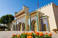 Dar El Makhzen Royal Palace from Place des Alaouites with brass doors, modern city of Fez, Fes el Bali. Morocco, Maghreb North Africa.