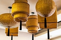 Basketry-style light fittings, restaurant, Rizal Avenue, Puerto Princesa, Palawan, Philippines