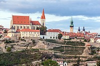 Znojmo, Czech Republic, St. Nicholas Church and old historic town, Landscape.