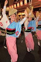Japan, Tokyo, Kagurazaka Matsuri, festival, Awa Odori, dancers, people,.