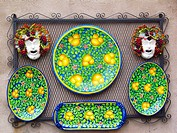 Traditionally decorated plates in shop, Orvieto, Italy.