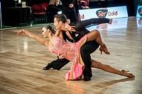 Dancers dancing latin dance on Wieczysty Dance Competition. Regional dance tournament in Krakow, Poland