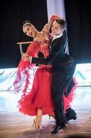 Dancers dancing standard dance on Wieczysty Dance Competition. Regional dance tournament in Krakow, Poland.