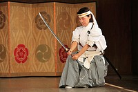 Japan, Kyoto, Gion Matsuri, festival, traditional performance, sword dancer,.