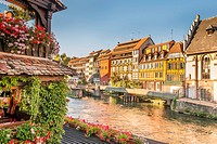 historic half-timbered buildings on the baks of river ill seen from pont saint martin bridge, petite france district, strasbourg, alsace, Bas-Rhin, Fr...
