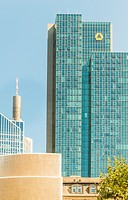 commerzbank tower and partial view of maintower and taunus tower, financial district, frankfurt/main, hesse, germany.
