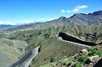 The road to Tizi n´Tichka pass. The High Atlas. Morocco