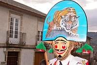 "Peliqueiro of Laza, mask of the Entroido """"carnival"""" in Laza, Orense, Spain."