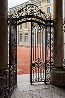 Wrought Iron Gate, Saint Jean Palace, Lyon, Rhône Alpes, France.