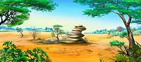 Digital painting of the African Savannah in a summer day with stone rock. Panorama.