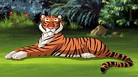 Digital painting of the Bengal tiger lying on a meadow.