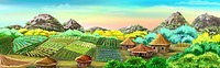 Digital painting of the Chinese Village and Rice Fields. Panorama with small houses, plants and mountains.