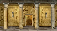 Digital painting of the hall of Ancient Egyptian Temple with columns and mural.