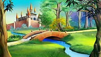 Landscape with Fairy tale castle in a forest and small bridge over the blue river. Digital painting background, Illustration in cartoon style characte...