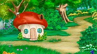 Fairy Tale Background with mushroom house. Digital Painting, Illustration in cartoon style character.