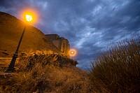 Gallipienzo old village in Navarre mountains Spain San Salvador church by night.
