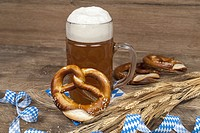 Oktoberfest beer and pretzel.