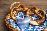 Pretzel in bread basket for Oktoberfest.