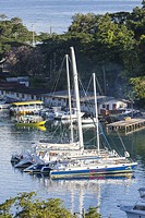 Castries, St. Lucia. Boats in Small Boat Harbor.