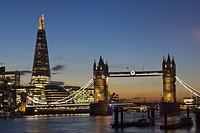UK, England, London, Tower Bridge, Shard dusk.