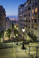 Stairway leading down Rue du Mont Cenis, Montmartre, Paris, France.