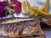 Freshly Cooked Red Mullet at a Fish Restaurant, Kumkapi, Istanbul,Turkey.