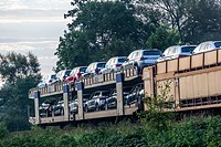 New Skoda cars on railway wagons produced by Skoda car factory Kvasiny.