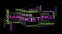 Marketing Business Strategy Word Cloud Text Concept With Sphere 3D Rendering.