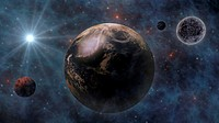 Planet Earth, The Sun, The Moon and Planets In Space 3D Rendering.