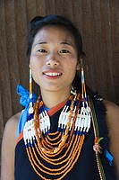 Naga tribal woman in traditional clothing, Kisima Nagaland Hornbill festival, Kohima, Nagaland, India.