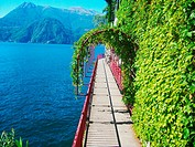 Varenna, Province of Lecco, region Lombardy, eastern shore of Lake of Como, Italy, panoramic view. Walkway along the lake.