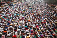Muslim devotees offer Jumma prayers while attending the World Muslim Congregation, also known as Biswa Ijtema, at Tongi, on the outskirts of the Bangl...