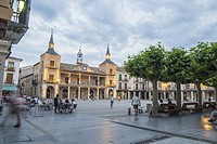 City hall square by dusk in Burgo de Osma village Soria province Castile Leon Spain.
