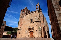 Church of San Mateo of Gothic style in the square San Mateo. Cáceres.