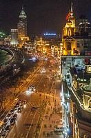 The Bund at night, Shanghai, China.