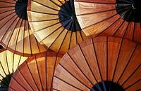 Rice-paper umbrellas at the evening market, Luang Prabang, Laos.