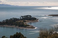 Looking out over the harbour with Tasman Bay and the western ranges beyond, from above Nelson, New Zealand. Haulashore Island at left and to its right...