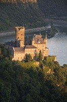 Burg Katz perches above St. Goarshausen on the Upper Middle Rhine Valley, Germany.