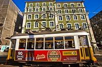 Tram, Hotel Figueira Lisboa, Figueira Square, Square of the Fig Tree, Praça da Figueira, Baixa Pombalina, Lisbon, Portugal, Europe.