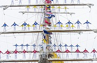 Crew of Colombian navy training ship, ARC Gloria, climb the rigging as the ship departs Las Palmas on Gran Canaria as the ship sets sail for Colombia ...