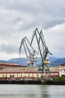 Cranes in Industrial Zone, Biscay, Basque Country, Euskadi, Spain, Europe