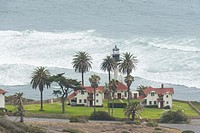 Lighthouse and palm trees by the Pacific Ocean in San Diego at Cabrillo National Monument