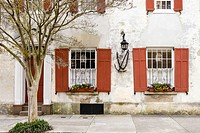 Windows Decorated with Flowers in the Charleston Historic District, South Carolina.