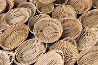 Handmade Sweetgrass Baskets at the Charleston City Market in Charleston, South Carolina.