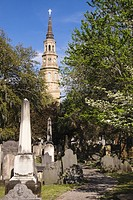St. Philip's Episcopal Church with Circular Congregational Church graveyard in the foreground, Charleston, South Carolina.