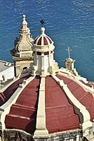 Malta, World Heritage Site, Valletta, Baroque cupola and Grand Harbour.